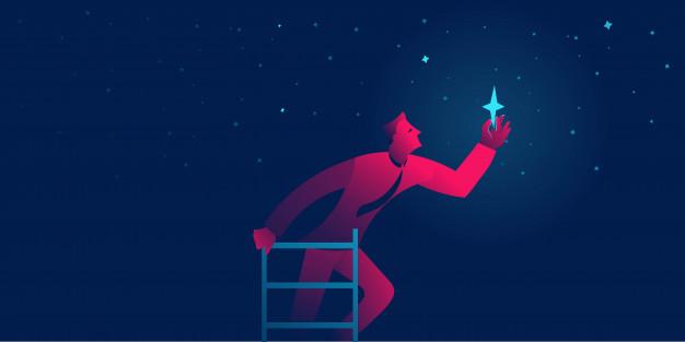 starpreneur businessman reaches star